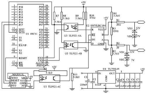 某节点的硬件电路设计如图1所示,在该电路中,使用了一种rs-485